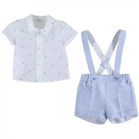 Mayoral Baby Boys White Shirt Blue Braces Linen Shorts Set