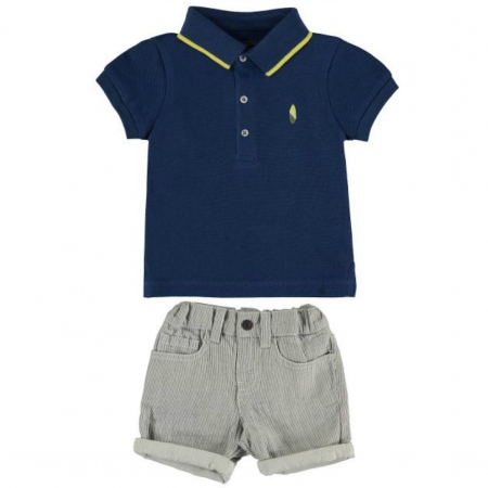 Mayoral Baby Boys Spring Summer Navy Polo Grey Stripes Shorts Set
