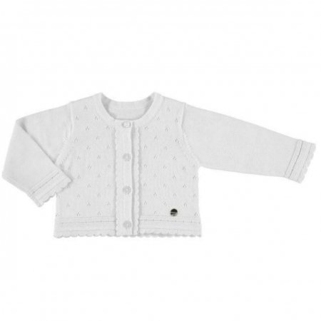 Mayoral Baby Girls White Soft Knit Cotton Cardigan