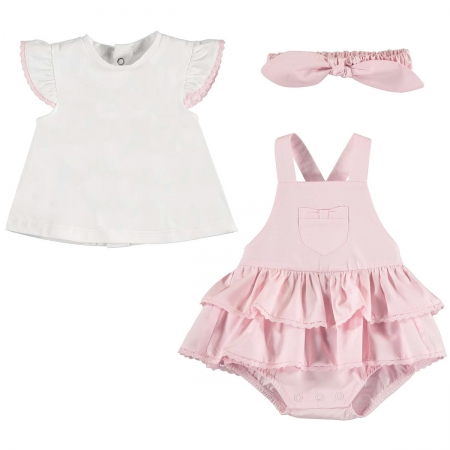 Mayoral Baby Girls White Pink Dungarees Skirt Set With Headband
