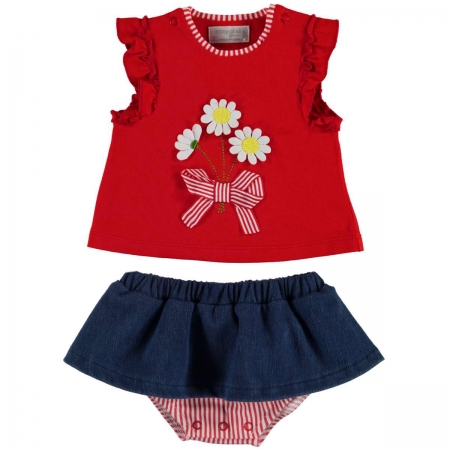 Mayoral Baby Girls Red Top Navy Skirt Panty Set