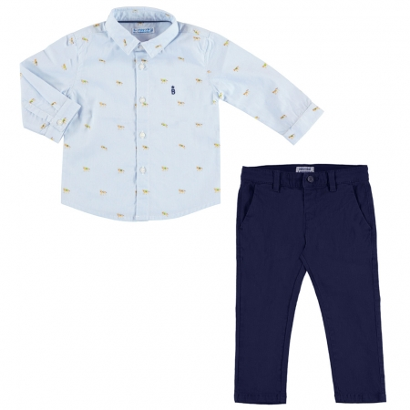 Mayoral Baby Boys Blue Horse Print Shirt Navy Trousers Set Autumn Winter