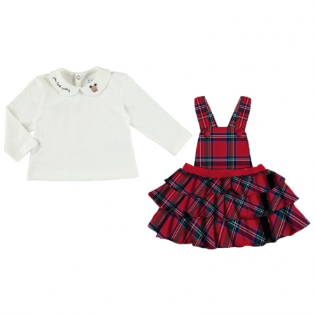 Mayoral Baby Girls Ivory Top Tartan Skirt Set Autumn Winter