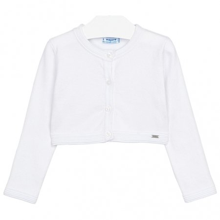 Mayoral Girls Cotton Rich White Cardigan