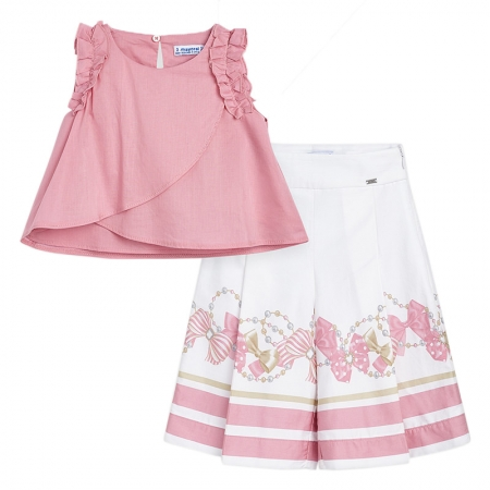 Mayoral Girls Pink Top And Pink White Long Pant Set