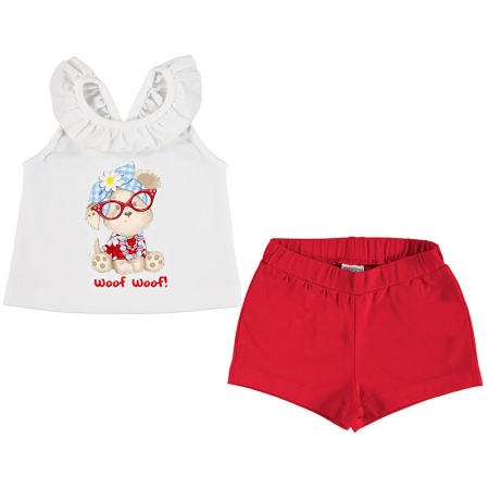 Mayoral Spring Summer Baby Girls White Woof Woof Puppy Print Top Red Shorts Set