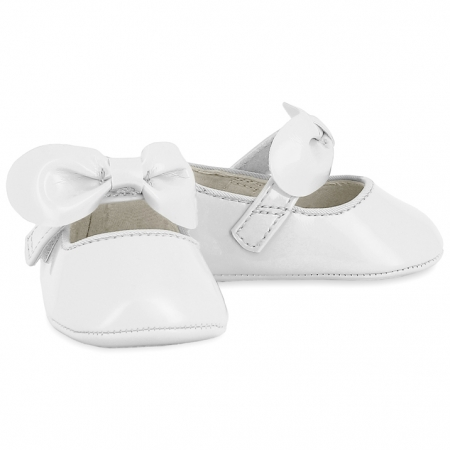 Mayoral Baby Girls White Patent Pram Shoes With Bow