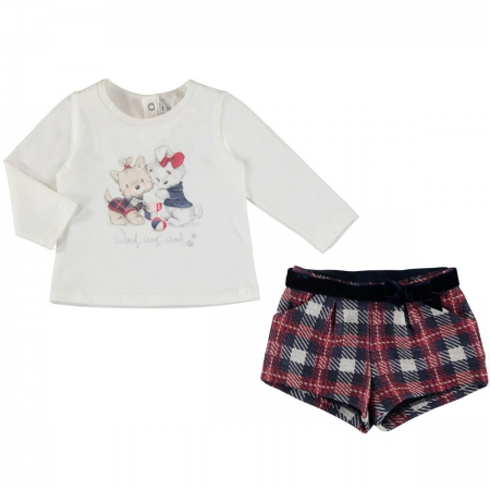 Mayoral Baby Girls Ivory Top Red Navy Checks Shorts Set