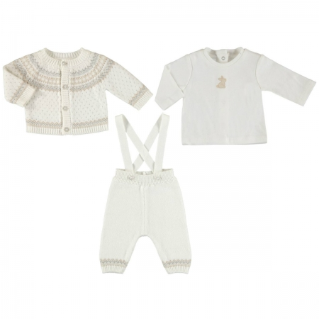 Mayoral Baby Boys 3 Piece Knitted Set In Ivory