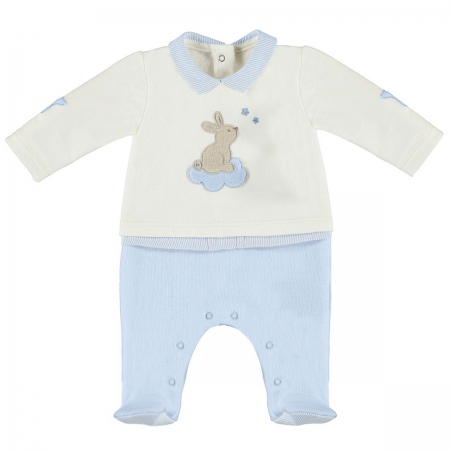 Mayoral Baby Boys All In One Off White Blue Romper