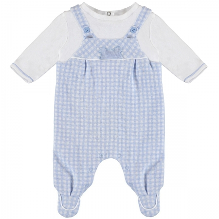 Mayoral Baby Boys Blue Checks All In One Footed Romper