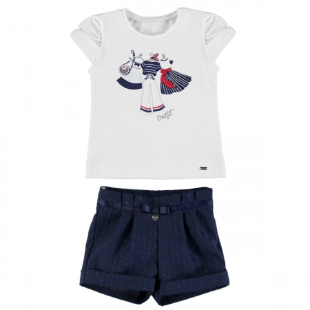 Mayoral Girls Summer White Top Navy Polka Dots Shorts Outfit