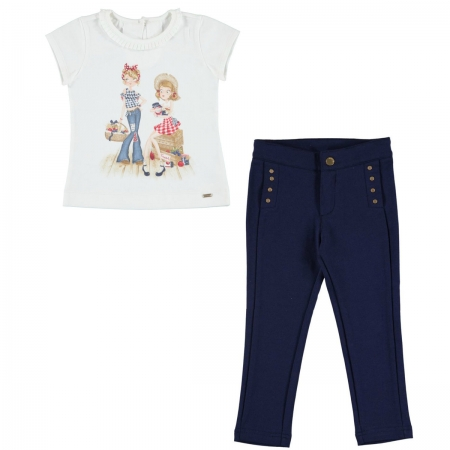 Mayoral Girls Summer White Pretty Girls T Shirt Navy Trousers Outfit