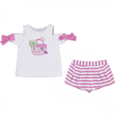 Mayoral Girls White Pink T Shirt Pink Stripes Shorts Set