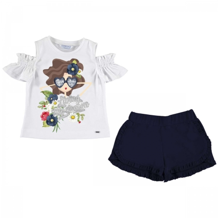 Mayoral Girls White T Shirt Doll Print Navy Shorts Set