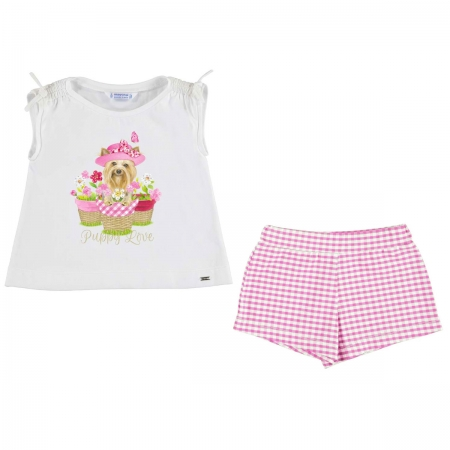 Mayoral Girls Puppy Print White Top Pink Gingham Shorts Set