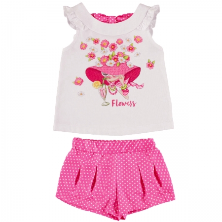 Mayoral Girls Spring Summer White Top And Fuchsia Shorts Set