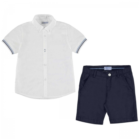 Mayoral Boys Smart White Polo Navy Shorts Outfit