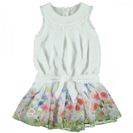 Mayoral Girls Summer White Floral Chiffon Dress