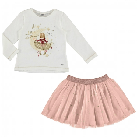Mayoral Girls Ivory Glitter Top Pink Tulle Skirt Set