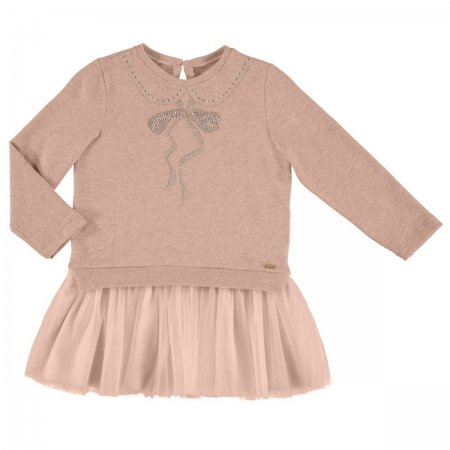 Mayoral Girls Long Sleeved Dress With Glittery Bow Set