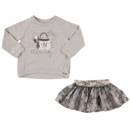 Mayoral Girls Grey Top And Floral Skirt Set