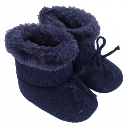 Mayoral Baby Girls Knitted Navy Fur Boots