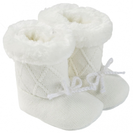 Mayoral Baby Girls Knitted Off White Ivory Fur Boots