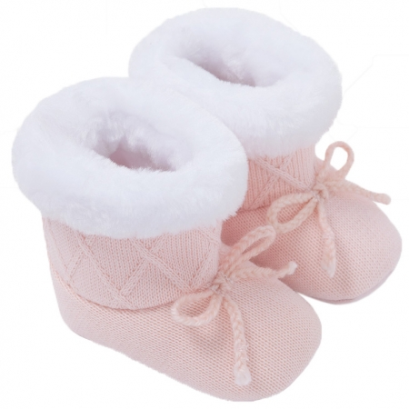 Mayoral Baby Girls Knitted Pink Fur Boots