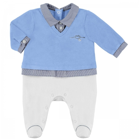 Baby Boys Blue White Romper Outfit
