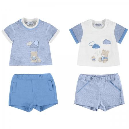 Sale Mayoral Baby Boys Blue White T Shirts And Shorts Set 2 Pack