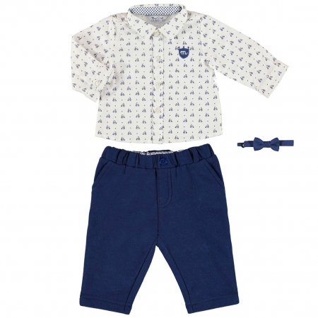 Sale Mayoral Baby Boys Ivory Navy Smart Outfit With Bow Tie