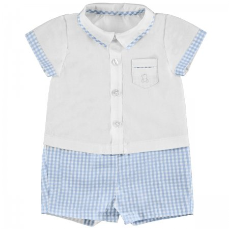 Sale Baby Boys White Top Blue Gingham Shorts Rompere Straps