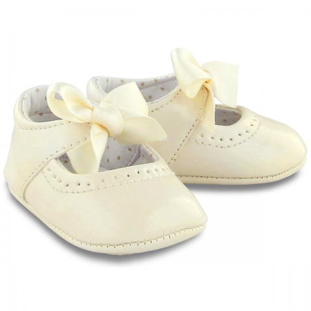 Baby Girls Patent Leather Ivory Shoes With Ribbons