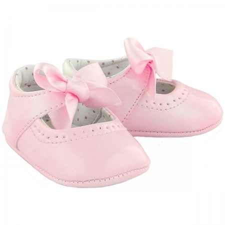 Baby Girls Pink Patent Leather Shoes With Ribbons