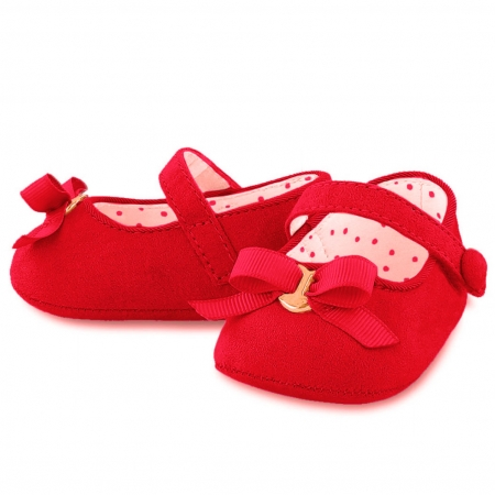 Mayoral Girls Mary Janes Red Pram Shoes With Bow