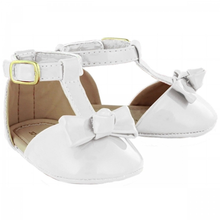 Baby Girls White Patent Sandals Shoes Bow Decoration