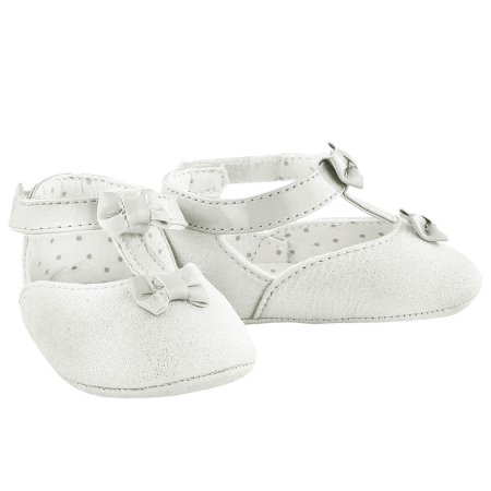 Baby Girls White Faux Suede Mary Jane Shoes