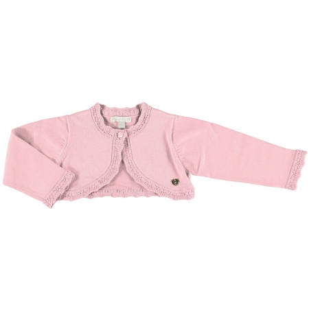 Mayoral Baby Girls Knitted Dusky Pink Cardigan Scallop Frills