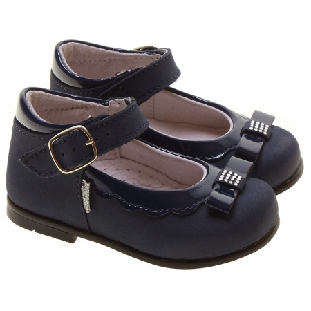 Girls Navy Leather Made In Italy Shoes Decorated With Bows