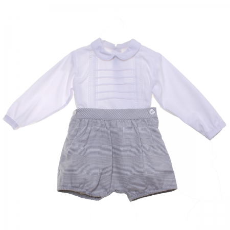 Miranda Baby Boys White Top Grey Plaid Shorts Set