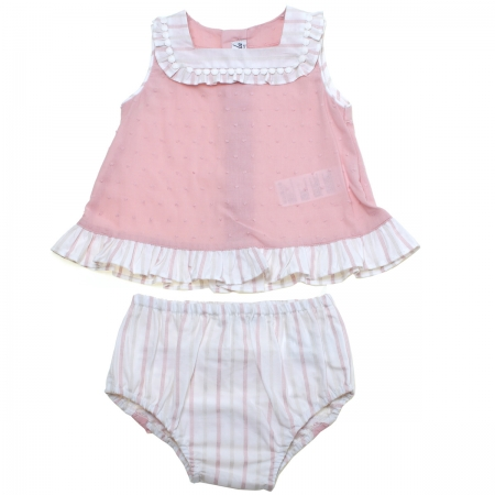 Miranda 2018 Spring Summer Baby Girls Pink Dress Panty Set