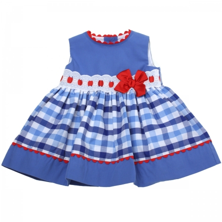 Miranda 2018 Spring Summer Baby Girls Navy Gingham Dress Red Bow White Lace
