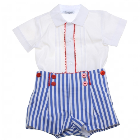 Miranda Spring Summer Baby Boys White Top Navy Stripes Shorts Red Scallop Lace