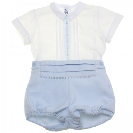 Miranda 2018 Spring Summer Baby Boys White Top Blue Shorts White Lace Blue Ribbon Outfit
