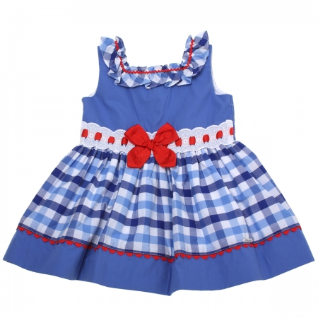 Miranda 2018 Spring Summer Girls Navy Blue White Gingham Dress Red Bow White Lace