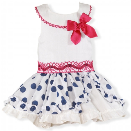 Miranda Spring Summer Girls White Dress Navy Polka Dots Red Bow Red Lace