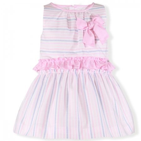 Miranda Spring Summer Girls White Pink Blue Stripes Dress Pink Bow Pink Frills