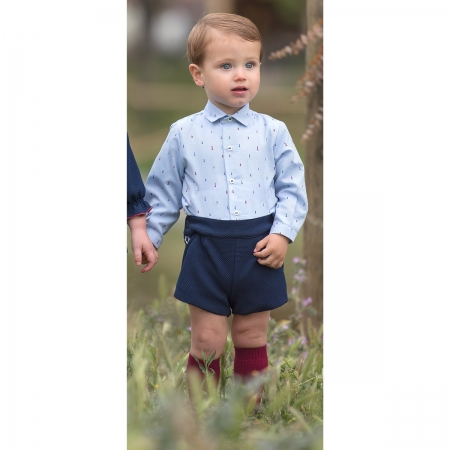 Miranda Baby Boys Blue Pattern Shirt Navy Shorts Set