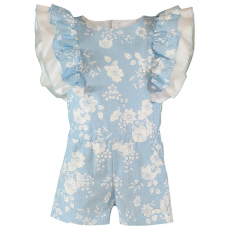 Miranda Spring Summer Girls Blue White Floral Playsuit With Frilly Sleeves